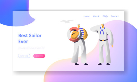 Sailor Characters Website Landing Page. Young Men in White Nautical Uniform and Stripped Vest Holding Lifebuoy and Saluting. Ship Crew, Marine Job Web Page. Cartoon Flat Vector Illustration, Banner