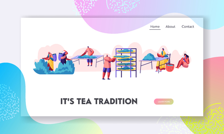 Tea Pickers Website Landing Page. Male and Female Characters in Traditional Indian Clothes Collecting Fresh Tea Leaves on Plantation. Cultivation Web Page. Cartoon Flat Vector Illustration, Banner