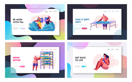 Tea Collecting and Drinking Website Landing Page Templates Set. Indian People in Traditional Clothes Pick Up Leaves, Woman Enjoying Tea. Cultivation Web Page. Cartoon Flat Vector Illustration, Banner Stock Illustratie