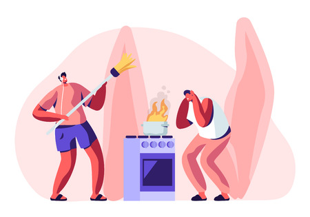 Household Male Character Housekeeping. Frightened Man Stand at Oven with Burning Fire in Pan, Guy in Headset Listening Music and Dancing with Broom while Cleaning Home Cartoon Flat Vector Illustration Standard-Bild - 122602136