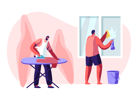 Household Male Characters Housekeeping Process. Everyday Routine of Duties and Chores, Houseworking Men Cleaning Home Wiping Window with Rag and Ironing Clothing. Cartoon Flat Vector Illustration Illustration