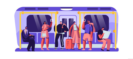 Passengers in Underground Using Urban Public Transport Metro. Tourists and Native Citizens Characters Inside Underpass Transportation. People Going by Subway Train at Work. Flat Vector Illustration