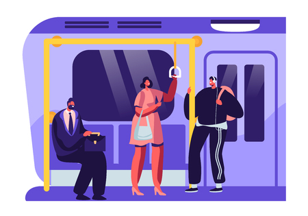People or City Dwellers in Metro, Subway, Tube or Underground Train. Men and Women Passengers in Public Transport. Male and Female Characters Using Rapid Transit Cartoon Flat Vector Illustration