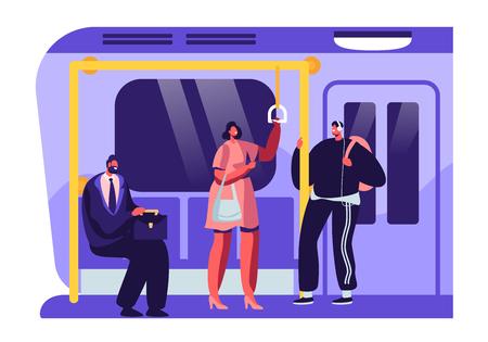 Persone o abitanti delle città in metropolitana, metropolitana o metropolitana. Uomini e Donne Passeggeri nel Trasporto Pubblico. Personaggi maschili e femminili che utilizzano l'illustrazione piana di vettore del fumetto di transito rapido Vettoriali