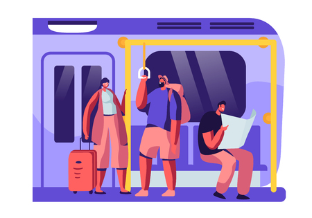 Subway Train Interior with Tourists with Baggage and Native Citizens. Male and Female Characters in Underground Urban Metro. People Using Public Transport for Moving. Cartoon Flat Vector Illustration Иллюстрация