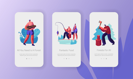 Active Outdoor Vacation in Forest Concept. People Having Rest at Nature, Chopping Wood, Fishing, Relaxing. Mobile App Page Onboard Screen Set for Website or Web Page, Cartoon Flat Vector Illustration
