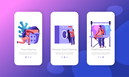 Female Character in Laundry Concept. Washing Machine, Ironing, Laying Clean Linen to Basket. Launderette Mobile App Page Onboard Screen Set for Website or Web Page, Cartoon Flat Vector Illustration