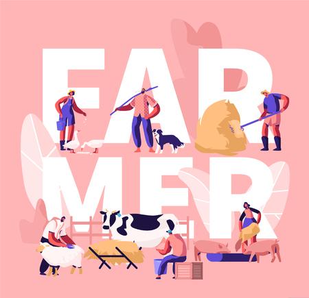 People Doing Farming Job Concept. Farmer Characters Feeding Domestic Animals, Milking Cow, Shearing Sheep, Prepare Hay for Livestock. Poster, Banner, Flyer, Brochure. Cartoon Flat Vector Illustration