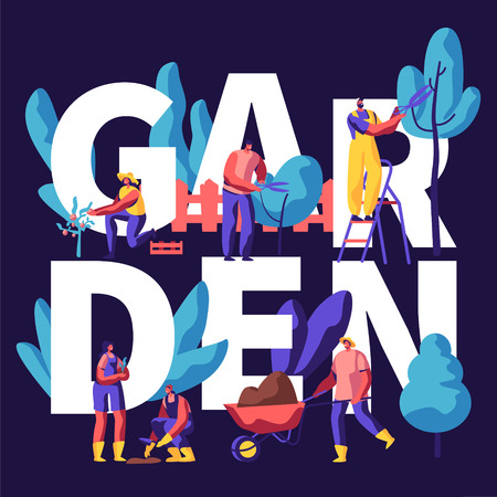Male and Female Characters Growing, Planting and Caring of Trees in Garden Concept. Gardening People Put Sprout on Soil, Cut Branches. Poster, Banner, Flyer, Brochure. Cartoon Flat Vector Illustration