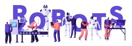 Ingegneria hardware e software robotica in laboratorio con il concetto di attrezzatura Hi-Tech. Ingegneri che realizzano e programmano robot, poster Ai, banner, volantini, brochure. Cartoon piatto illustrazione vettoriale