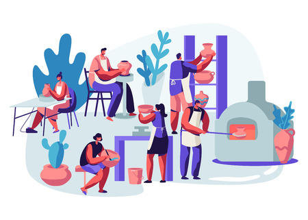Characters Making and Decorating Pots, Earthenware, Crockery and Other Ceramics at Pottery Workshop. Group of People Enjoying Their Hobby. Painting, Baking in Oven. Cartoon Flat Vector Illustration
