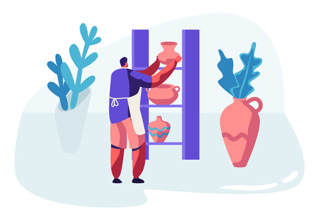 Master Putting Clay Pots on Shelves in Pottery Studio. Male Artist Character Make Handcrafted Earthenware Crockery, Decorating Ceramics. Creative Hobby, Leisure. Cartoon Flat Vector Illustration Иллюстрация