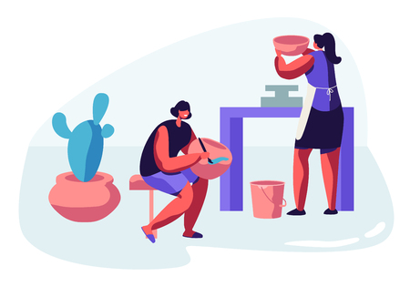 Female Characters Painting Pots, Earthenware, Crockery Girls Artists Decorating Ceramics at Pottery Workshop. Enjoying Creative Hobby, Handcrafted Master Class. Cartoon Flat Vector Illustration Ilustrace