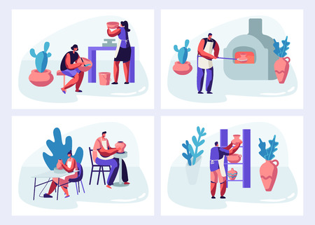 Ensemble de pots de fabrication et de décoration de personnages, faïence, vaisselle et autres céramiques à l'atelier de poterie. Groupe de personnes profitant de leur passe-temps. peinture, cuisson au four, dessin animé, plat, vecteur, illustration