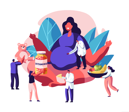 Huge Pregnant Woman with Big Belly Sitting in Lotus Pose Surrounded with Doctors Giving her Vitamines, Baby Toys, Healthy Nutrition. Female Character Happy Pregnancy, Cartoon Flat Vector Illustration