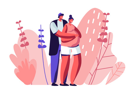 Happy Couple of Husband and Wife Prepare Become Parents. Man Embracing Pregnant Woman with Big Belly. Young Family Waiting Baby, Maternity, Fatherhood, Parenting Cartoon Flat Vector Illustration