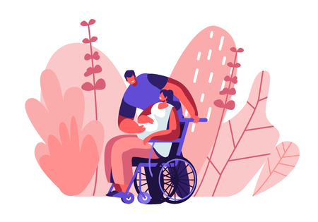 Male Character Touching Belly of Disabled Pregnant Woman Sitting on Wheelchair. Happy Family Relations, Pregnancy, Loving People Awaiting Baby. Invalid Girl Bear Child Cartoon Flat Vector Illustration