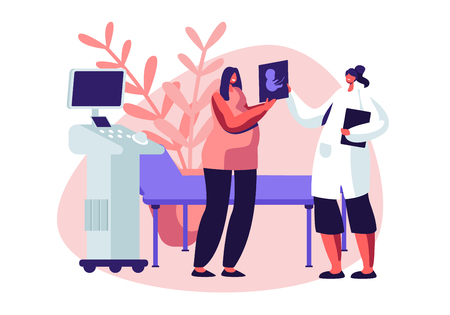 Pregnant Woman in Ultrasound Cabinet Watching Baby Picture. Female Character Doctor Show Fetus Image to Future Mother. Fertility, Childbirth, Family Relations. Cartoon Flat Vector Illustration