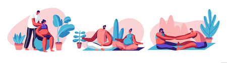 Happy Couples Waiting Baby and Exercising in Gym. Pregnant Female Characters with their Husbands Doing Fitness Sports Activity Together. Fitball, Yoga, Relaxing Poses. Cartoon Flat Vector Illustration