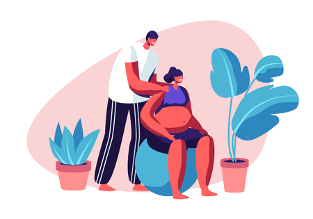 Man and Pregnant Woman Sports Exercise on Fitball. Happy Couple Training in Gym. Healthy Lifestyle, Parenting Classes, Pregnancy. Young People Prepare Become Parents. Cartoon Flat Vector Illustration