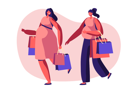 Couple of Beautiful Young Pregnant Women Going Shopping. Girls Expecting Babies Leisure, Spare Time, Meeting Friends. Happy Pregnancy, Maternity, Child Bear, Purchases Cartoon Flat Vector Illustration