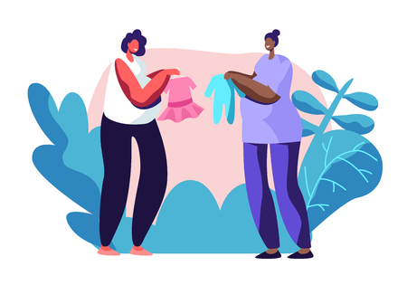 Young Pregnant Women Demonstrate and Brag with Baby Clothing Purchases to Each Other. Happy Female Characters Expecting Child. Desired Healthy Pregnancy, Maternity. Cartoon Flat Vector Illustration Ilustração