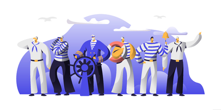 Ship Crew Male Characters in Uniform. Captain at Steering Wheel, Sailors in Stripped Vests Holding Life Buoy and Ringing Bell. Maritime Profession, Job Occupation. Cartoon Flat Vector Illustration