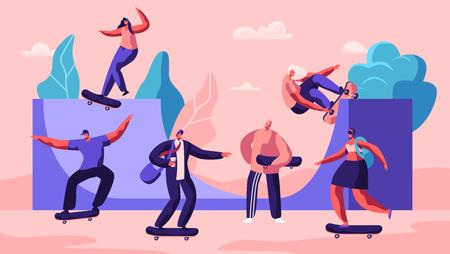 Personajes masculinos y femeninos del monopatín. Adolescentes patinadores con estilo que hacen acrobacias y trucos, saltan a alta velocidad sobre tablas. Actividad extrema de verano, monopatín. Ilustración de Vector plano de dibujos animados