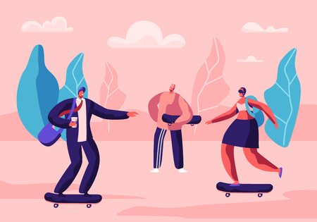 Young Skateboarders Active Boys and Girls Sport Extreme, Time Summer Leisure Activity. Skateboarding Male and Female Characters Relaxing in Public Park on Weekend. Cartoon Flat Vector Illustration Illustration