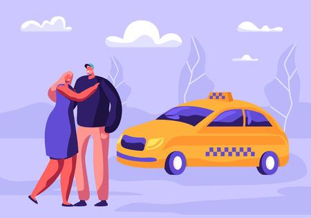 Joven pareja abrazándose esperando un taxi en la calle con fondo de suburbio. Servicio de Transporte, Entrega de Pasajeros, Destino. Clientes en espera de taxi amarillo. Ilustración de Vector plano de dibujos animados Ilustración de vector