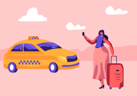 Young Woman with Luggage Standing on Street Calling or Using App for Ordering Taxi. Female Customer Character Waiting Car Outdoors. Cabbie Driver Coming for Order. Cartoon Flat Vector Illustration  イラスト・ベクター素材
