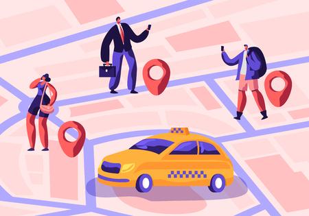 Servicio de taxi. Conductor en taxi amarillo esperando y entrega de pasajeros con equipaje a destino. Personas que solicitan un coche de taxi mediante la aplicación y capturan en la calle. Ilustración de Vector plano de dibujos animados
