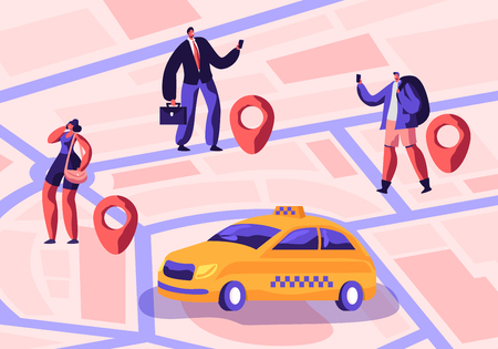 Taxi Service. Driver in Yellow Cab Waiting and Deliver Passengers with Baggage to Destination. People Ordering Taxi Car Using Application and Catching on Street. Cartoon Flat Vector Illustration