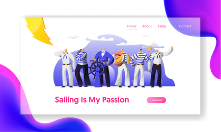 Ship Crew Male Characters in Uniform Website Landing Page. Captain at Steering Wheel and Sailors in Stripped Vest. Maritime Profession, Job Occupation Web Page Cartoon Flat Vector Illustration, Banner