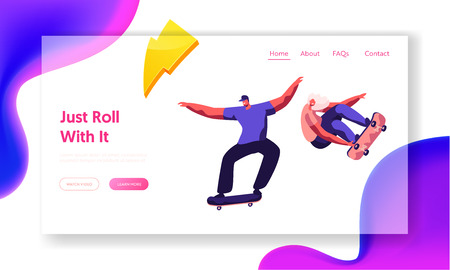 Skateboarding Website Landing Page. Stylish Skating Teenagers Making Stunts and Tricks, Jumping on High Speed on Boards. Extreme Summertime Activity Web Page. Cartoon Flat Vector Illustration, Banner Banque d'images - 122636496