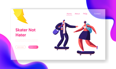 People Characters Skating Skateboards Website Landing Page. Skater Boy and Girl on Alternative Summer Transport Longboard. Cool Freedom Lifestyle Web Page. Cartoon Flat Vector Illustration, Banner