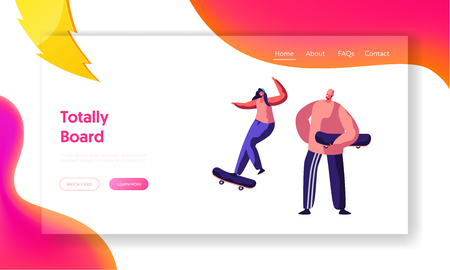 Male and Female Skateboarder Characters Doing Jumping Tricks Website Landing Page. Stylish Skating People Active Spare Time Activity, Teenager Sport, Web Page. Cartoon Flat Vector Illustration, Banner