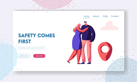 Taxi Service Website Landing Page, Young Hugging Couple Waiting Taxi Car, Passenger Delivery, Safe Transportation to Destination Place, Happy Clients Web Page. Cartoon Flat Vector Illustration, Banner