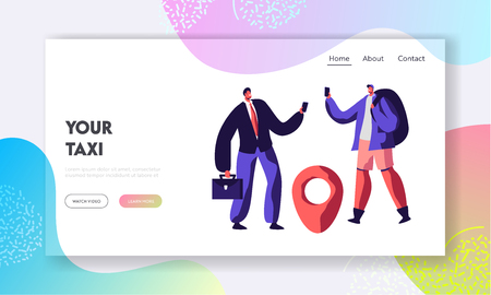 Couple of Men Calling for Ordering Taxi. Male Customer Characters Using Application to Order Car with Driver. Taxi Service Website Landing Page, Web Page. Cartoon Flat Vector Illustration, Banner