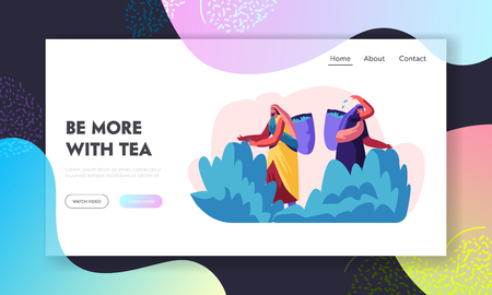 Tea Pickers Website Landing Page, Girls in Traditional Indian Dress Collecting Fresh Tea Leaves into Basket. Women Workers Job Summertime Occupation. Web Page. Cartoon Flat Vector Illustration, Banner