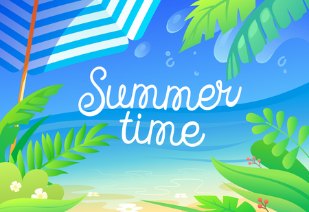 Summer Time Colorful Banner with Tropical Plants, Palm Tree Leaves, Sandy Beach, Sun Umbrella and Ocean View. Advertising Poster for Summertime Vacation Event or Party. Cartoon Vector Illustration