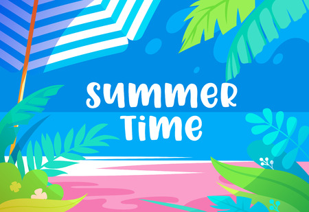 Summer Time Vibrant Banner with Palm Tree Leaves, Exotic Tropical Plants, Sandy Beach, Sun Umbrella and Sea View. Promo Poster for Summertime Leisure, Travel, Entertainment Cartoon Vector Illustration