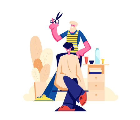 Bearded Hairdresser Barber Doing to Young Male Client Haircut in Men Beauty Salon Barbershop. Barber Shop Interior Design with Chair, Desk, Accessories and Furniture. Cartoon Flat Vector Illustration