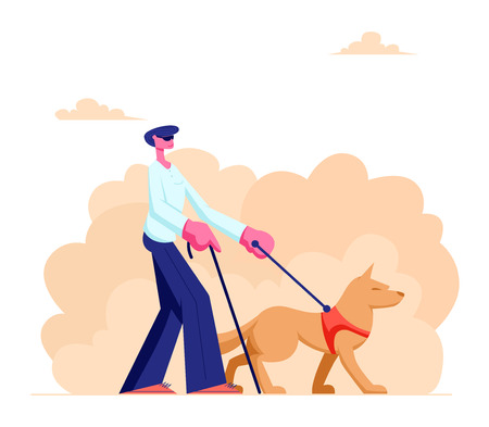 Blind Man Walking with Guide Dog and Cane along Street. Special Trained Animal Helping to Disabled Male Character to Walk in City. Vision Disability, Eyes Disease. Cartoon Flat Vector Illustration Ilustração