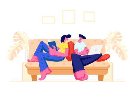 Happy Couple Relaxing Together at Home Sitting on Sofa with Book and Laptop. Male and Female Young Characters Spend Time on Weekend, Girl Reading, Man Work on Computer Cartoon Flat Vector Illustration Illustration