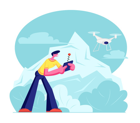 Young Man Watching and Navigating Flying Drone in Sky over Mountain View Landscape. Male Holding Remote Controller while Quadcopter Fly. New Technologies, Innovations. Cartoon Flat Vector Illustration