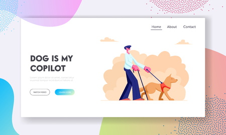 Blind Man Walking with Guide Dog and Cane along Street. Special Trained Animal Help to Disabled Male Character to Walk in City. Website Landing Page, Web Page. Cartoon Flat Vector Illustration, Banner