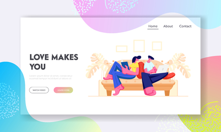 Happy Couple Relaxing Together at Home Sitting on Sofa with Book and Laptop. Male and Female Characters Spend Time on Weekend, Website Landing Page, Web Page. Cartoon Flat Vector Illustration, Banner Illustration