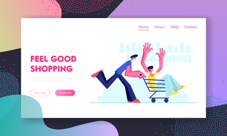 Teenagers Riding Trolley in Supermarket. Happy Boy Pushing Shopping Cart with Friend Sitting inside. Teens Happy Sparetime, Website Landing Page, Web Page. Cartoon Flat Vector Illustration, Banner