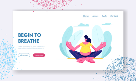Pregnant Woman Sitting in Lotus Pose Doing Yoga Meditation. Health Care, Pregnancy Exercises, Maternity. Child Bearing, Baby. Website Landing Page, Web Page. Cartoon Flat Vector Illustration, Banner